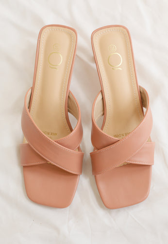 Ava Cross Mules (Blush)