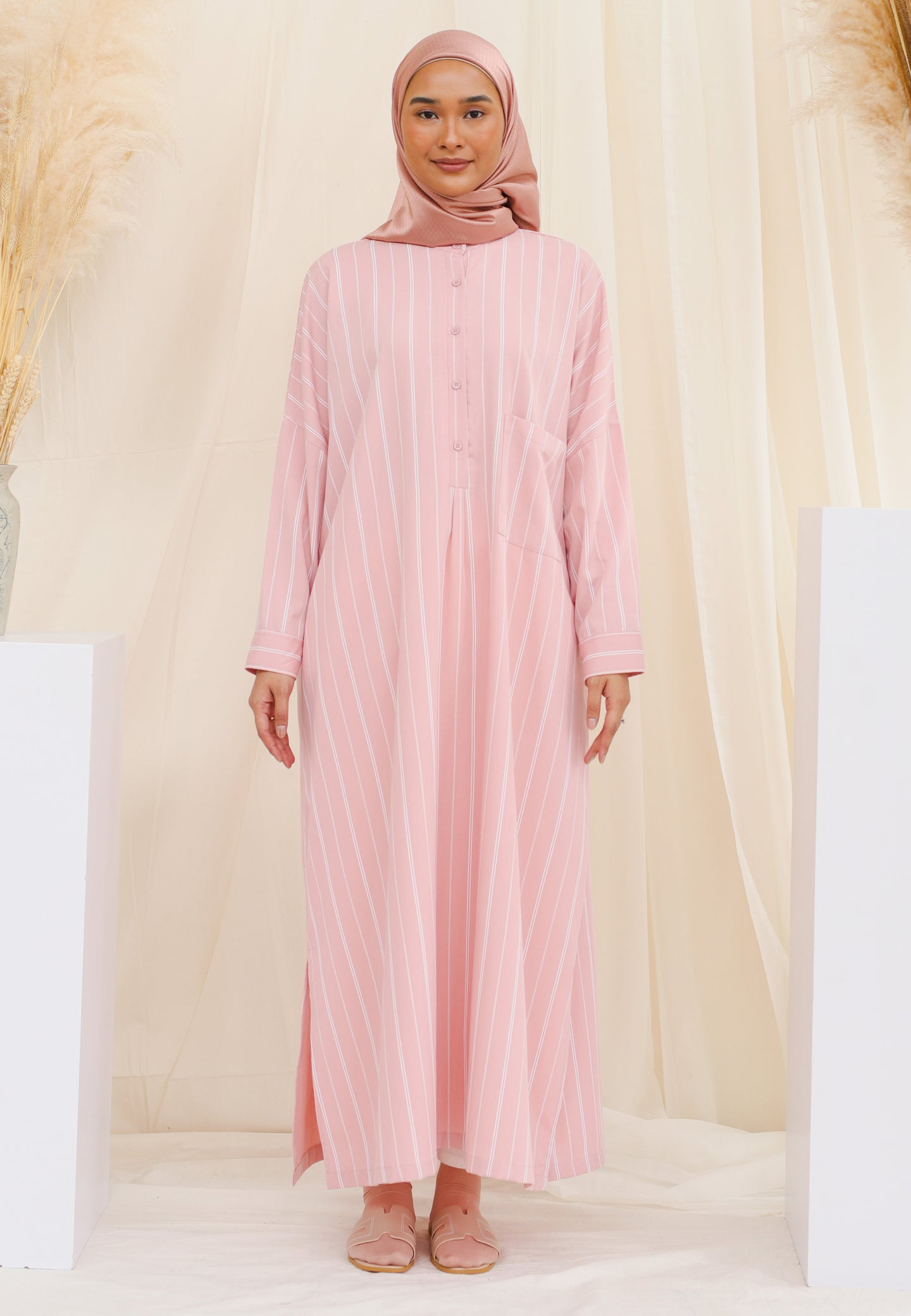 Eimaan Casual Kaftan (Dusty Pink)