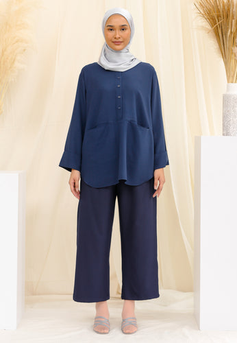 Habiba Pocket Top (Navy Blue)