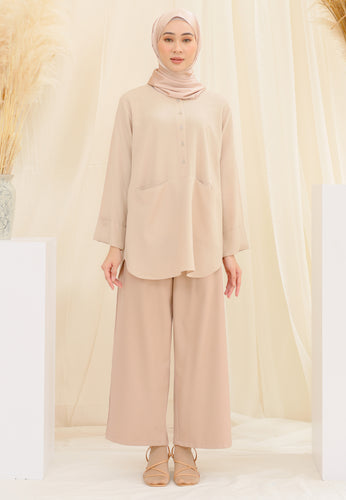 Habiba Pocket Top (Nude Brown)