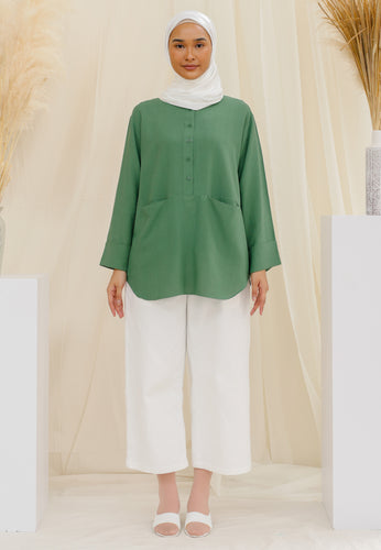 Habiba Pocket Top (Dusty Green)