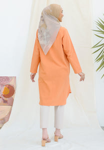 Mahdia Linen Top (Orange Mandarin)