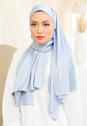 Azalea Satin Shawl (Soft Blue)