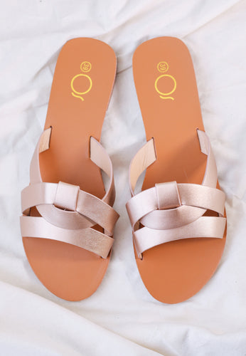 Chanda Slide Sandals (Rose Gold)