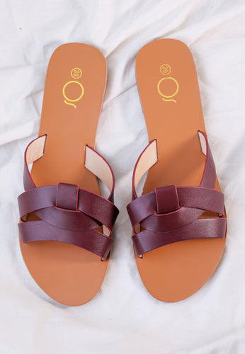 Chanda Slide Sandals (Maroon)
