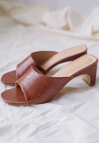 Amel Panel Mules (Dark Brown)