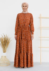 Aleea Printed Dress (Earth Brown)