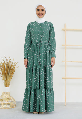 Aleea Printed Dress (Earth Green)