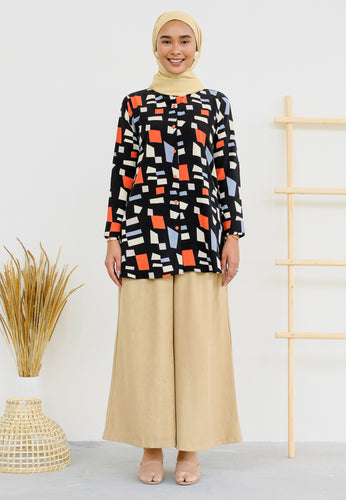 Ameena Printed Top (Black)