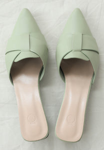 Ivy Pointed Mules (Dusty Green)