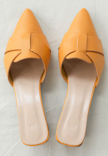Ivy Pointed Mules (Yellow Mustard)