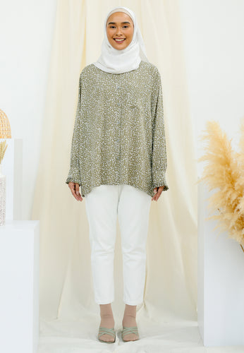 Fateema Printed Top (Olive Green)