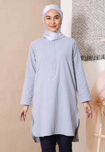 Mahdia Linen Top (Light Grey)