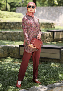 Aqeela Printed Top (Maroon)