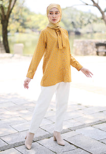 Lateefa Printed Top (Mustard)