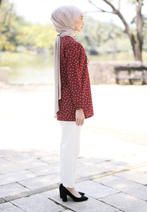 Lateefa Printed Top (Maroon)
