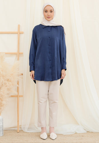 Afrin Linen Top (Dark Blue)