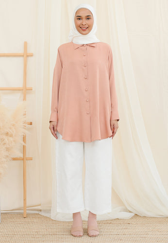 Afrin Linen Top (Dusty Pink)