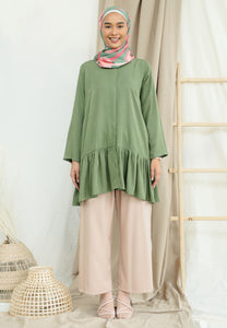 Lunaa Ruffle Top (Olive Green)