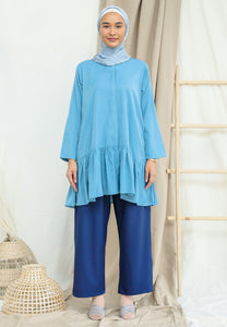 Lunaa Ruffle Top (Ash Blue)