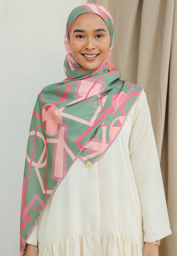 Haura Abstract Shawl (Moss Green)