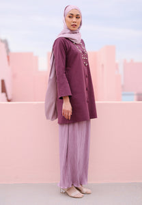 Aleesa Pleated Kurong (Mulberry Purple)
