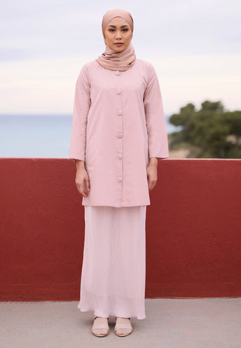 Aleesa Pleated Kurong (Soft Pink)