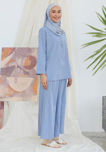 Hanaa Casual Palazzo Set (Earth Blue)