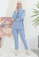 Load image into Gallery viewer, Hanaa Casual Tapered Set (Earth Blue)