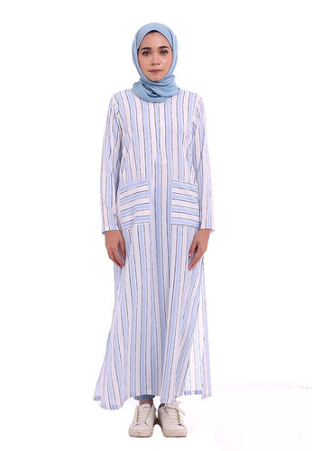Stripe Split Long Top (Candy Blue)