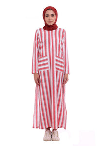 Stripe Split Long Top (Candy Red)