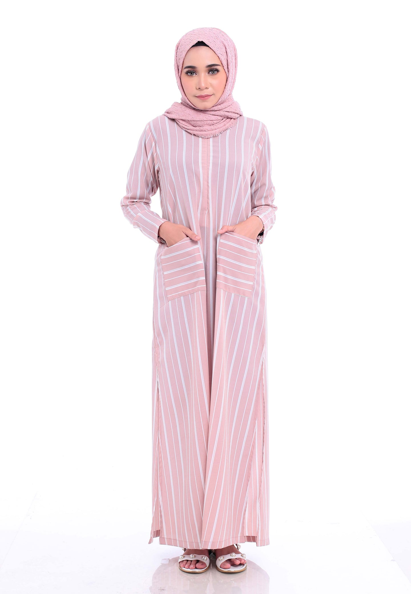 Stripe Split Long Top (Dusty Pink)