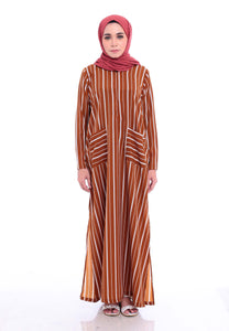 Stripe Split Long Top (Earth Brown)