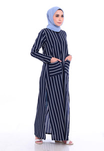 Stripe Split Long Top (Navy Blue)
