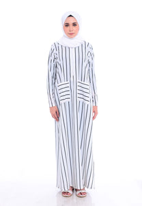 Stripe Split Long Top (White)