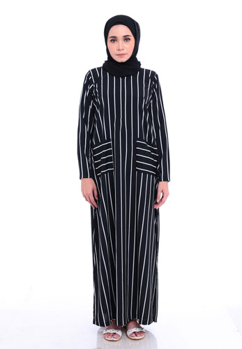 Stripe Split Long Top (Black)
