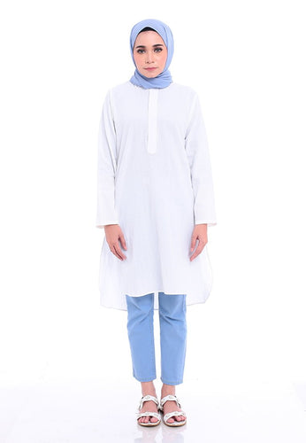 Mahdia Linen Top (White)