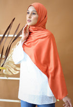 Load image into Gallery viewer, Miska Satin Shawl (Earth Orange)
