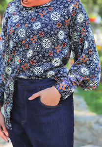 Aseela Printed Top (Dark Blue)
