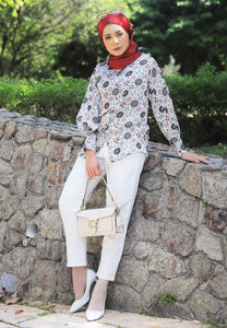 Aseela Printed Top (White)