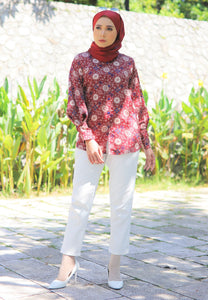Aseela Printed Top (Brick Red)