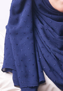 Hessa Wide Shawl (QH Gold Tag) - Navy Blue