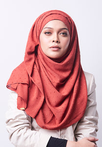 Hessa Wide Shawl (QH Gold Tag) - Brick Orange