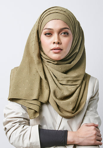 Hessa Wide Shawl (QH Gold Tag) - Olive Green