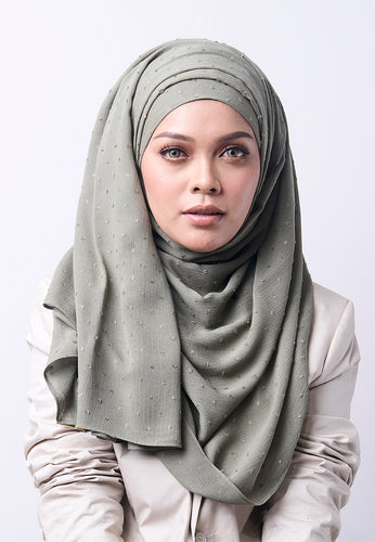 Hessa Wide Shawl (QH Gold Tag) - Greyish Green