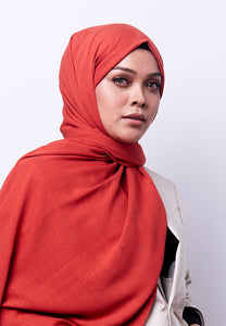 Jenna Wide Shawl (QH Gold Tag) - Brick Orange