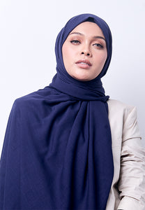 Jenna Wide Shawl (QH Gold Tag) - Navy Blue