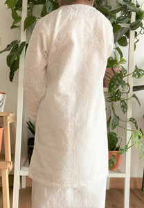 Kayla Cotton Lace Kids Kurong (White)