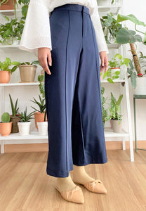 Salma Highwaisted Wide Pants (Navy Blue)