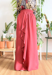 Dhiya Ruffles Skirt (Brick Red)